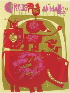 David Weidman ~ Circus Animals 20×26 Poster (silkscreen) 1968