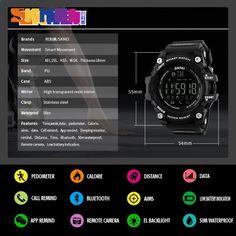 info for 48bfa 678ce SKMEI 1227 Miesten Smart Watch Pedometer Calories Chronograph Muoti  Ulkoiluvarusteet Kellot 50M Vedenpitävät digitaaliset rannekellot
