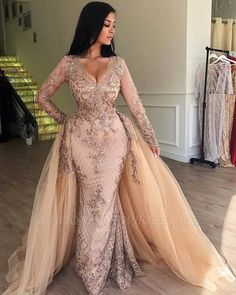 champagne prom dresses 2020 detachable skirt lace applique beaded v neck elegant prom gown vestidos Prom Dresses Long With Sleeves, Mermaid Prom Dresses, Bridesmaid Dresses, Wedding Dresses, Prom Gowns, Mermaid Skirt, Lace Mermaid, Mermaid Wedding, Halter Dresses