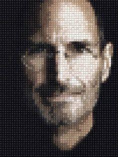 Retrato de Steve Jobs hecho con teclas de teclado
