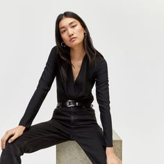 Buy Warehouse Black Pleat Long Sleeve Wrap Top from the Next UK online shop Mens Fashion Now, Latest Fashion Clothes, Long Sleeve Wrap Top, New Outfits, Black Tops, Leather Jacket, Warehouse, Jackets, Stuff To Buy