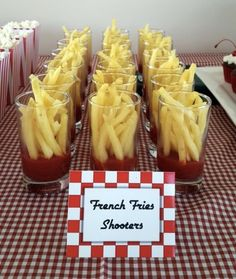 8 Broadway-Inspired Treats To Serve At Your Next Party - Theatre Nerds - - 8 Broadway-Inspired Treats To Serve At Your Next Party – Theatre Nerds Diner Decorations Grease themed party snack-French Fries Shooters / Themed Party Food Idea. Diner Party, Retro Party, Fifties Party, Brunch Party, Snacks Diy, Snacks Für Party, Party Treats, Party Food Ideas, Party Food Bars