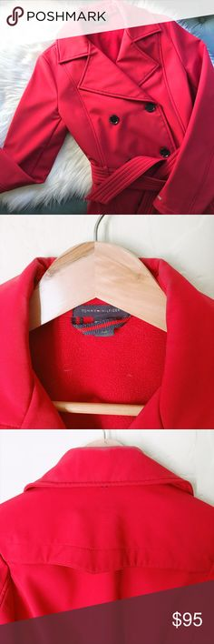 Tommy Hilfiger Double-Breasted Red Peacoat Perfect red peacoat for Fall and Winter. Great condition. Bundle 3 or more items for 10% on final price. Tommy Hilfiger Jackets & Coats Pea Coats