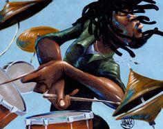 Dreds N' Drums by David Garibaldi from The Black Art Depot in Atlanta, GA 30344 African American Artist, American Artists, David Garibaldi, Black Art Painting, Black Artwork, Rock Painting, Hip Hop, Jazz Art, Jazz Music