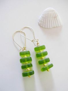 Green Sea Glass Dangle EarringMoss Green Gold by Redpeonycreations