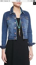 Eileen Fisher Organic Cotton Cropped Denim Jacket Sz L