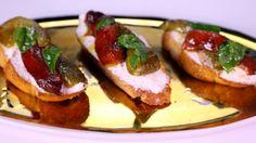 Mario Batali's Fresh Ricotta & Roasted Red Pepper Bruschetta