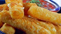Mozzarella sticks are coated in a simple batter and quickly deep fried to golden perfection. Try dipping them in a marinara sauce!