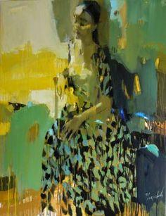 "Saatchi Art Artist Iryna Yermolova; Painting, ""Flower print dress I"" #art"