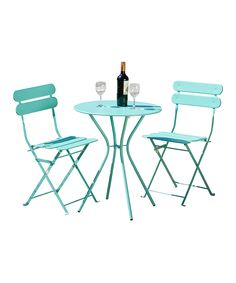 Enjoy alfresco brunches and poolside cocktails with this chic bistro set, featuring 2 steel chairs and a table in a stylish shade of lime green. 3 Piece Bistro Set, Patio Bar Set, Patio Sets, Indoor Outdoor, Outdoor Decor, Outdoor Living, Outdoor Rooms, Outdoor Ideas, Patio Furniture Sets