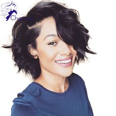 New Arrival Short Wavy Bob Human Hair Wig Brazilian Virgin Lace Front Wig With Baby Hair Glueless Wavy Bob Wigs For Black Women