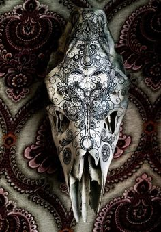 A friend of mine likes to paint on animal skulls she finds in the woods. - Imgur