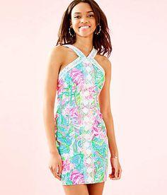 LILLY PULITZER GIRLS MINI MILA SHIFT DRESS Light Pascha Pink Aquadesiac Sz 14