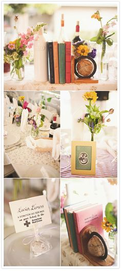 some of these decor ideas can easily be used in the home! love the vintage feel of the top design with the old books and knick-knacks!