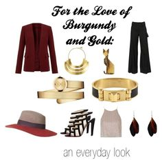 """For the Love of Burgundy and Gold: an everyday look"" by archetypallydresd-looks on Polyvore"