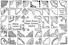 Hand Drawn Photo Corners Clipart set includes: -50 PNG files with transparent backgrounds ( approximately 7- 8 wide ) -EPS, AI (vector) files Each file is in high quality 300dpi resolution. Suitable for most computer programs This is digital product. File will be available as INSTANT DOWNLOAD on Etsy as soon as your purchase is complete. These graphics are excellent for handmade craft items, printed paper items, invitations, cards, party banners,announcements, tags, jewelry, scrapbooking,...