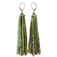 """Pre-owned """"Green Eye"""" Tsavorite, Peridot & Citrine Tassel Earrings found on Polyvore featuring polyvore, fashion, jewelry, earrings, accessories, more earrings, tsavorite garnet jewelry, tsavorite earrings, citrine earrings and green earrings"""