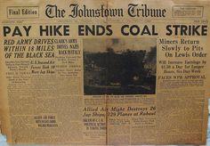 The Johnstown Tribune - World War II: November 4, 1943: PAY HIKE ENDS COAL STRIKE