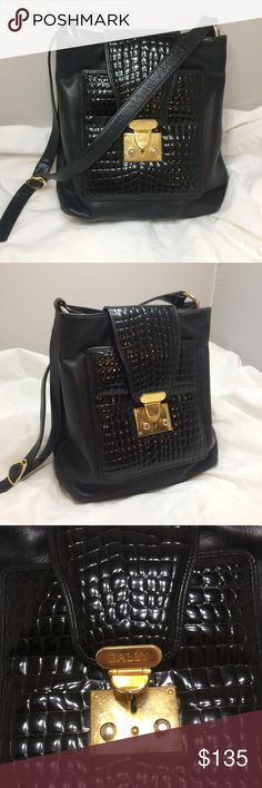 """Bally Vintage Handbag Bally Vintage Handbag Black Leather Very Soft Gold Locking Croc Embossed Front 11""""L x 7""""W x 11""""H Bally Bags Shoulder Bags"""