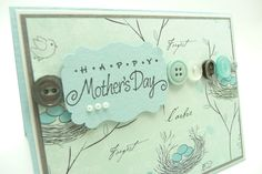 Blue Mother's Day Card, French Mother's Day Card, Handmade Paper Greeting Card, Vintage Button Card. $4.00, via Etsy.