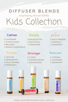 Diffuse the doTERRA Kids Collection with these inspired essential oil diffuser blends. Essential Oils For Babies, Best Essential Oils, Essential Oils For Anxiety, Essential Oil Combinations, Roller Bottle Recipes, Kids Collection, Essential Oil Diffuser Blends, Doterra Diffuser, Doterra Essential Oils