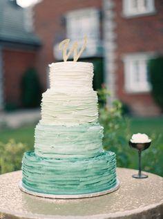 Ombre teal wedding cake: Photography : Nicole Berrett Photography Read More on SMP: http://www.stylemepretty.com/arizona-weddings/chandler/2016/07/27/fairytale-arizona-real-wedding/