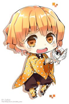 Demon Slayer: Kimetsu no Yaiba, Zenitsu Agatsuma, SD / 我妻善逸 - pixiv Kawaii Anime Girl, Loli Kawaii, Cute Anime Chibi, Kawaii Chibi, Cute Anime Boy, Anime Angel, Anime Demon, Manga Anime, Anime Art