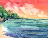 A Sunrise Walk on the Beach Original Watercolor Painting from Kauai Hawaii by Marionette red, orange, yellow,  blue, turquoise