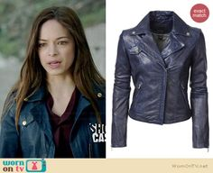 Cat's blue leather moto jacket on Beauty and the Beast.  Outfit Details: http://wornontv.net/34502/ #BATB