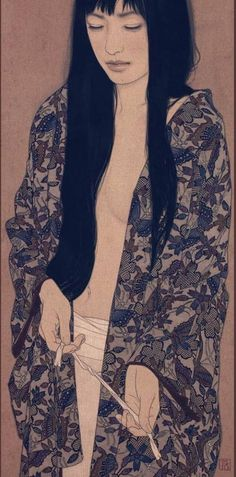 Ikenaga Yasunari Illustrazioni t Japanese Illustration, Illustration Art, Illustrations, Japanese Art Modern, Japanese Prints, Art Occidental, Art Asiatique, Art Japonais, Japanese Painting