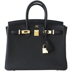 Preowned Hermes Black Baby Birkin 25cm Togo Gold Ghw Satchel Jewel ($22,100) ❤ liked on Polyvore featuring bags, handbags, black, hermes purse, hermès, gold satchel, preowned handbags and hermes bag