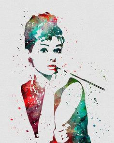 Audrey Hepburn, Breakfast at Tiffany's Watercolor Art Print Audrey Hepburn Poster, Audrey Hepburn Kunst, Audrey Hepburn Painting, Doodle Drawing, Breakfast At Tiffanys, Breakfast At Tiffany's Poster, Marlene Dietrich, Arte Popular, Art Graphique