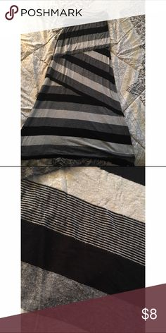 """Striped Maxi Black and gray striped maxi with """"tier design"""" more of a tight fit around hips/butt and flowy at the bottom. Skirts Maxi"""