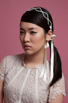 Clemence - pearl hairband with ribbon ties. Cappellino Bridal