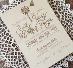 You could replace the windmill with a sketch of any symbol, really! (Kraft Paper Windmill Rustic Wedding Invitations by GreySnailPress) Wedding Invitation Paper, Wedding Stationery, Wedding Planner, Rustic Wedding, Our Wedding, Dream Wedding, Wedding Ideas, Modern Calligraphy Tutorial, Paper Windmill