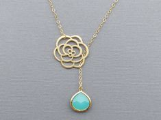 Mother's Day, Flower Lariat Necklace and Mint Gemstone, Necklace for Mom, Necklace for Her, Gift for Best Friend, Bridesmaid Necklace on Etsy, $24.50