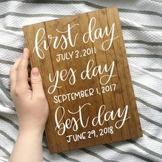 This custom hand lettered wood sign is the perfect addition to your home or wedding reception! Every one of my pieces is handmade with lots of love and care. Get this piece for your wedding reception, then keep it in your home for years to come! We just love first day yes day best day!