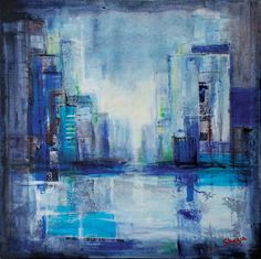 """New York Dream 1"" by Shazia Imran - Acrylics, collage and mixed media on canvas."