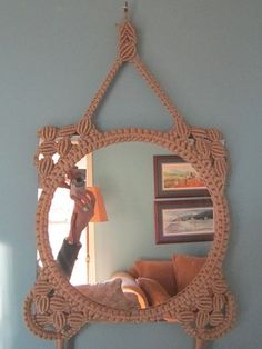 Here is a rare QUALITY macrame picture frame from the late or early to mid Currently home to a mirror, the mirror could be easily replaced Macrame Mirror, Macrame Art, Macrame Design, Macrame Knots, Round Picture Frames, Mirror Hangers, Mirror Mirror, Mirror Inspiration, Macrame Tutorial