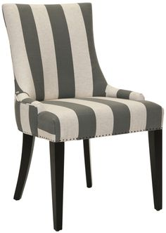 Safavieh Alexia Fabric Dining Chair in Multi-Striped Linen