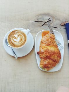 breakfast @ Thom Bargen, YWG {cappuccino + croissant}.