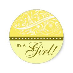 New Baby | Birth Announcement | Baby Shower Yellow Round Sticker