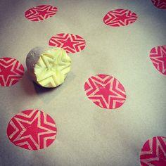 Potato print wrapping paper via Linocutboy on Tumblr