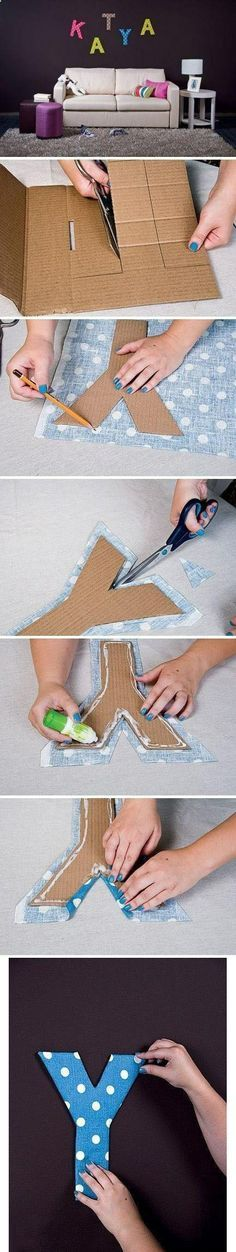 Wall Art Ideas Diy Projects: Fabric and Cardboard Wall Letters DIY - where was this when I was fixing up the babys nursery.Diy Projects: Fabric and Cardboard Wall Letters DIY - where was this when I was fixing up the babys nursery. Diy Letters, Letter A Crafts, Fabric Letters, Cardboard Letters, Wooden Letters, Alphabet Letters, Diy Cardboard, Paper Letters, Read Letters