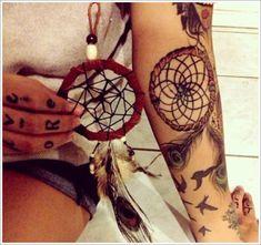real-Dreamcatcher-Tattoo-Designs-for-girl-on-arm ~ http://heledis.com/getting-dreamcatcher-tattoos-ideas/
