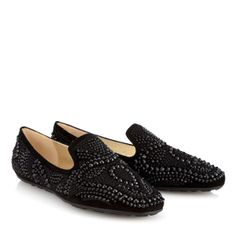 Jimmy Choo - Wheel - 132wheelebt - Black Embroidered Suede Slippers