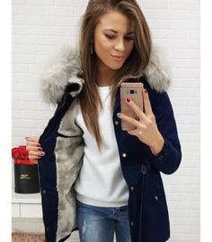 Bunda dámska zimná párka tmavomodrá Parka, Coat, Jackets, Fashion, Down Jackets, Moda, Sewing Coat, Fashion Styles, Peacoats
