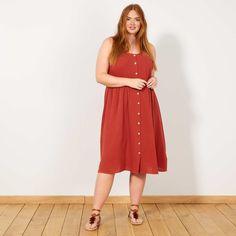 82ebbf24617 Robe en coton gaufré. Robe en coton gaufré Grande taille femme - rouge ocre  - Kiabi ...