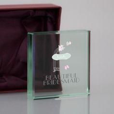 Personalised Bird Cage Medium Crystal Block