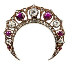 Victorian Diamond and Ruby Crescent Brooch/Pendant, late 1800's  unknown  late 1800's